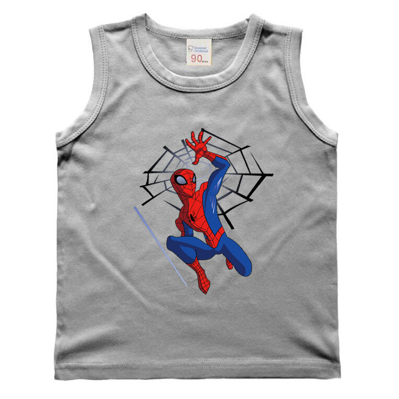 Baby Boys Girls Spiderman Cartoon Vest T-Shirt For Kids Sleeveless T-shirt Batman Iron Man Captain America Superman Summer New