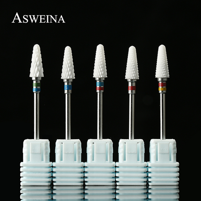 ASWEINA 1PC Ceramic Nail Drill Bits Electric Sharp Cutting Rotary Burrs Device for Manicure And Pedicure Art Tools Nail Files