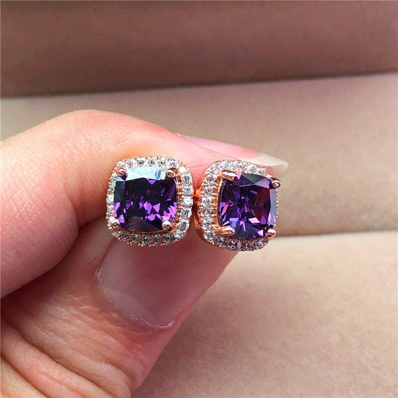 Luxury Female Crystal Purple Stone Earrings Fashion Rose Gold Zircon Wedding Earrings Vintage Double Stud Earrings For Women