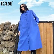 EAM – robe courte noire à boutons, poches bleues, manches longues à revers, coupe ample, mode Tide, printemps automne 2021, 1DD3785