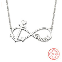 925 Sterling Sliver Name Necklaces Customized Name Infinity Pendant Personalized Fashion Jewelry Eternity Wedding Gfit for Women(China)
