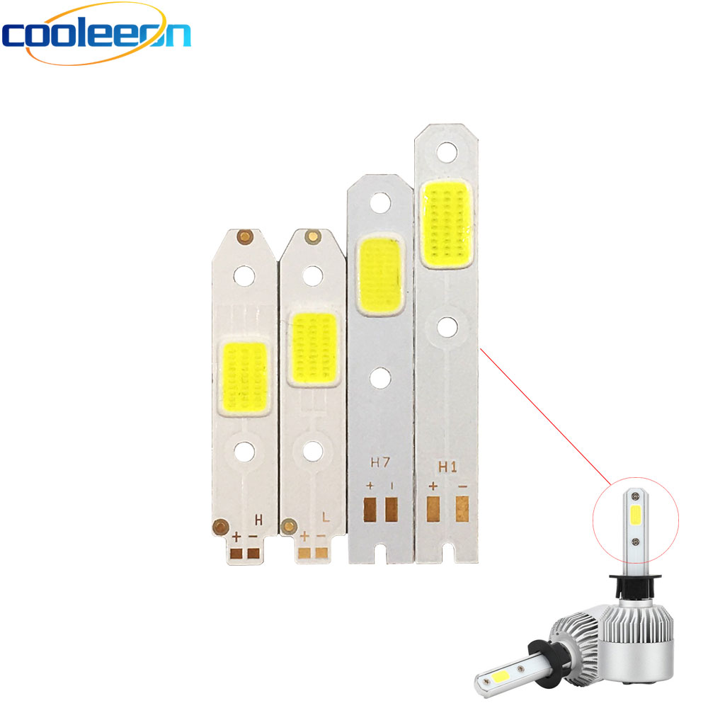 4pcs/lot S2 Car Headlight COB Chip LED Light Source For DIY S2 Auto Headlamp H1 H3 H7 H4 High Low Beam Bulb 6500K White COB Lamp