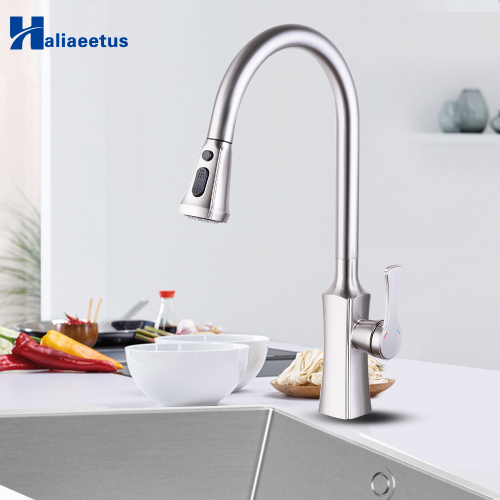 Kitchen Faucet Pull Out Brass Sprayer Chrome Stream Single Hole Handle Swivel Kitchen Sink Mixer Tap Faucets Crane Brush Nickel