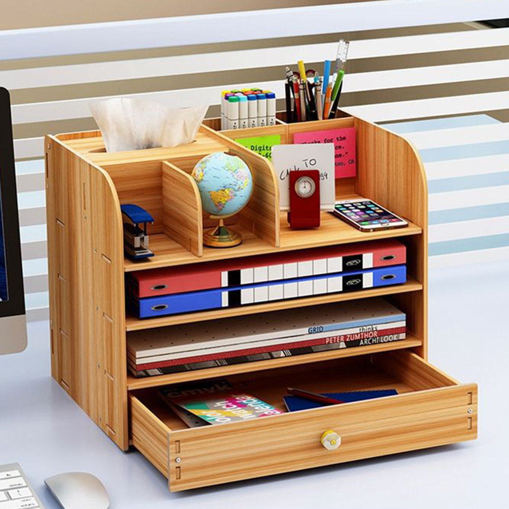 Desktop Storage Box Wooden Office Multi-layer File Rack Supplies Stationery Box Sundries Shelf File Book Organizer  32*22.5*26cm