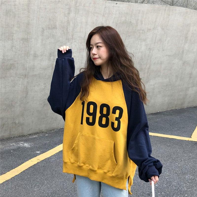 2019Letter Graphic Pattern Hoodie Autumn Women Pocket Cotton For Hoodies Hip Hop Sweatshirt Mens Long Sleeve Hoodies  Sportswear