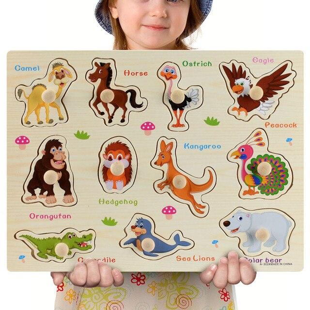 Nuovo 30cm Giocattoli Del Bambino Montessori Puzzle Di Legno A Mano Grab Educativi Puzzle di Legno per I Bambini Del Fumetto Animale Bambino Veicolo regalo 2