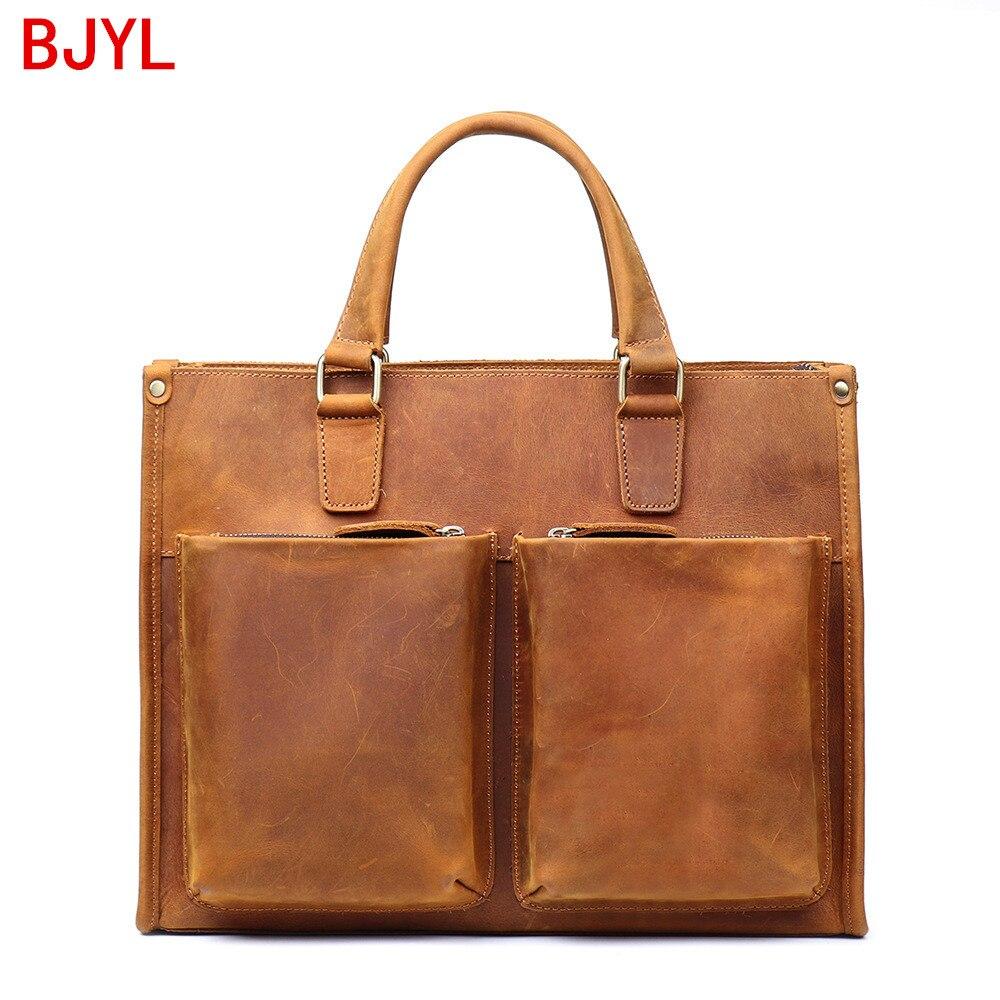 Genuine Leather Handbag Men Laptop Bag Business Large Capacity Male Briefcase Crazy Horse Leather Shoulder Messenger Bag New 14
