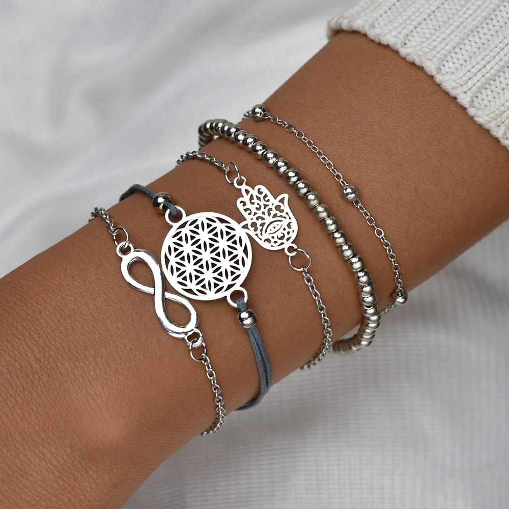 Hello Miss Digital Openwork Fashion Bracelet Fatimas Beads String Jewelry Five-piece Womens