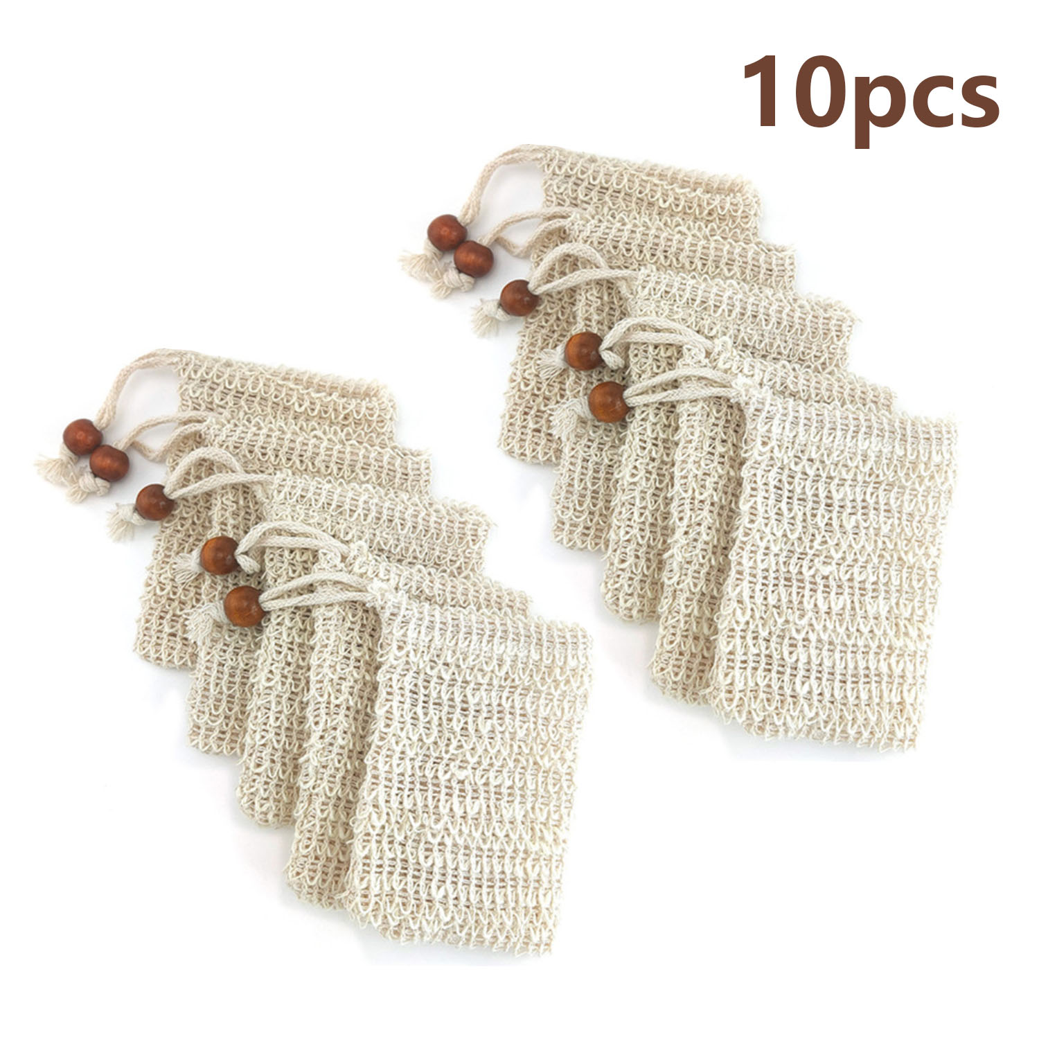 5pcs Soap Bag Natural Fiber Exfoliating Mesh Pouch Holder Soap Saver With Drawstring For Foaming Drying Massaging