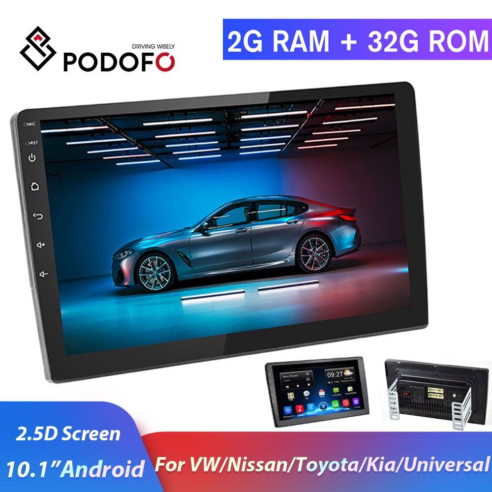 Podofo 2 Din Android Car Radio 2+32G 2 DIN Car Multimedia Player 2.5D 10.1