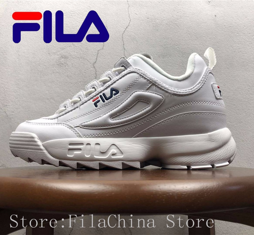 Fila Disruptor II 2 Men And Women Sneaker Running Shoes White-brown And White Summer Increased Outdoor