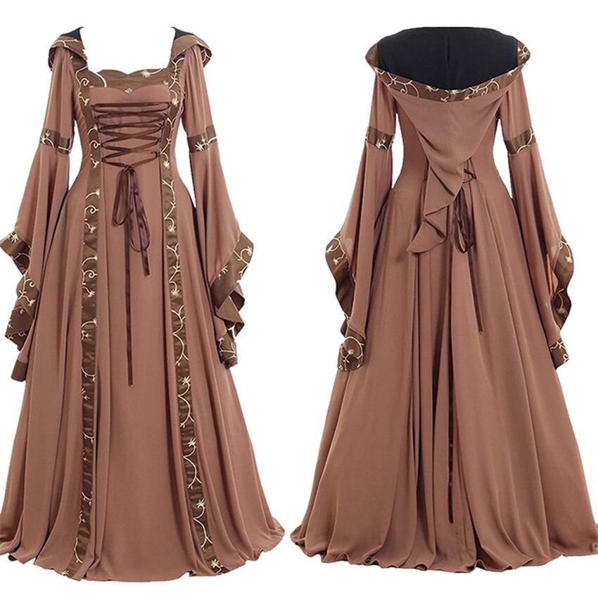 Костюмы для косплея на Хэллоуин для женщин Виктории ретро одежда среднего возраста длинное платье для взрослых рукав колокол кружевные пла