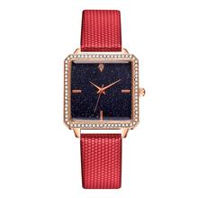 2020 New Watches Women Square Rose Gold Wrist Watches Red Leather Fashion Brand Watches Female Ladies Quartz Clock Montre Femme guanqin gq15001 dressport brand luxury quartz ladies watches leather women watches fashion female wristwatches montre femme