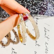 New Arrival Metal Hyperbole Round Women Dangle Earrings Fashion Female Korean Simple Jewelry Circle