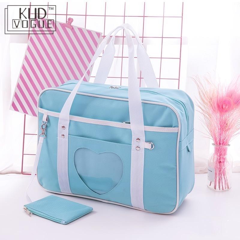 Japanese Heart Lolita Anime Girls Handbag School Shoulder Bag Jk Itabag Cosplay Preppy Style Uniform Kawaii Pink Canvas Tote Bag