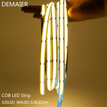 DC12V 24V COB LED Streifen 320 384 528 LED Hohe Dichte Flexible COB Led-leuchten FOB Led Light Bar RA90 3000k 4000k 6000k 5/Mt