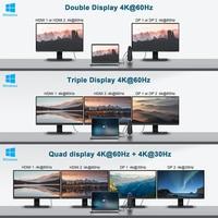 QGeeM Docking Station 17-IN-1 USB Hub 3.0 for Macbook Pro Xiaomi Laptop 4K Quadruple Display USB Type C HDMI DP Card Reader Dock