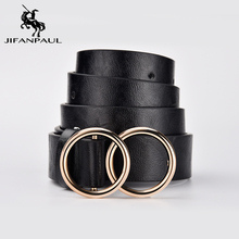 JIFANPAUL Genuine leather Women #8217 s alloy double ring buckle fashion adjustable belt retro punk ladies dress jeans student belts cheap Adult Cowskin Casual Solid 4897