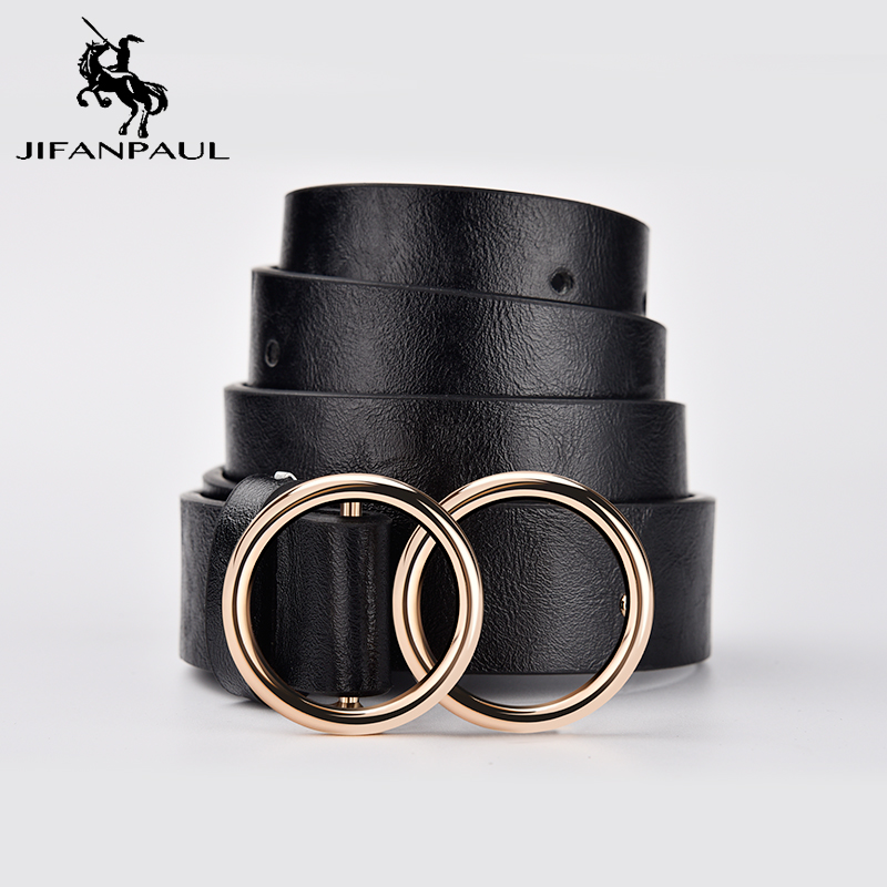 JIFANPAUL Genuine Leather Women's Alloy Double Ring Buckle Fashion Adjustable Belt Retro Punk Ladies Dress Jeans Student Belts