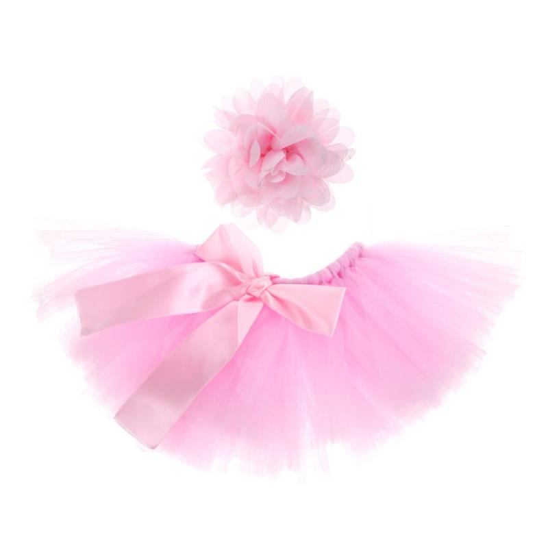 2pcs/set Baby Newborn Photography Props Cute Baby Girls Flower Hairband Bowknot Tutu Skirt Photo Props