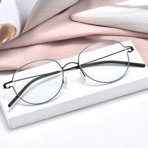 Image 1 - عالية الجودة خفيفة الوزن التيتانيوم البيضاوي نظارات دائرية للرجال النساء البصرية وصفة النظارات الإطار الكورية oculos دي غراو