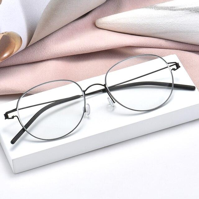 عالية الجودة خفيفة الوزن التيتانيوم البيضاوي نظارات دائرية للرجال النساء البصرية وصفة النظارات الإطار الكورية oculos دي غراو