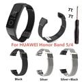 Для huawei Honor Band 5 Band 4 ремешок металлический высококачественный сетчатый ремешок из нержавеющей стали ремешок для наручных часов сменный Брас...