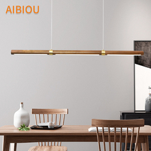 AIBIOU Modern LED Pendant Lights For Dining Room Wooden Cord Lamp Office Hanging Light Bar Suspension Lighting Fixtures
