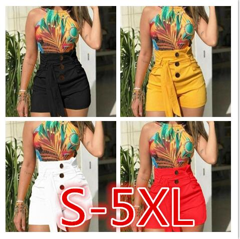 Womens Ladies High Waist Summer Casual Solid Beach Belt Hot Skinny Shorts Black Red White Yellow