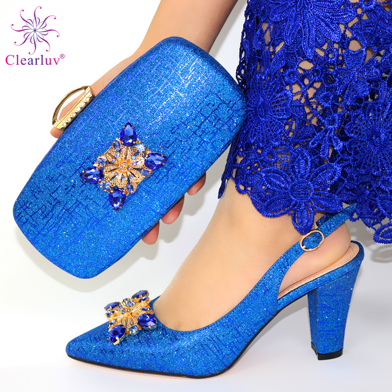 African Style Elegant Ladies Shoes And Matching Bag Set 2019 Italian Design Rhinestone High Heels Shoes And Bag Set For Party