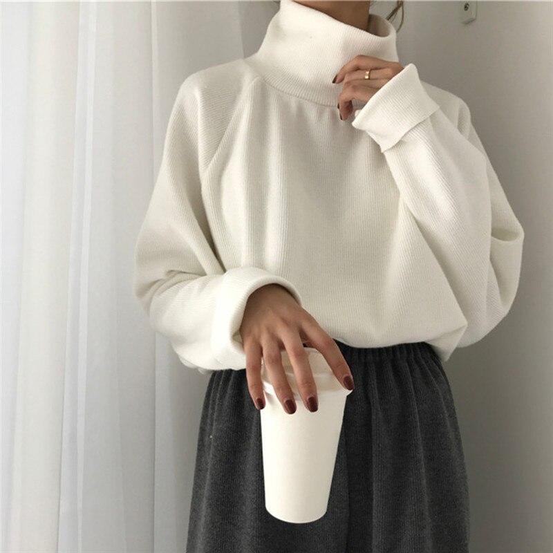 Pull Femme, осенняя Водолазка с длинным рукавом, пуловер, женский свитер, 2020, модный однотонный свободный женский топ, Sueter Mujer, Bigsweety