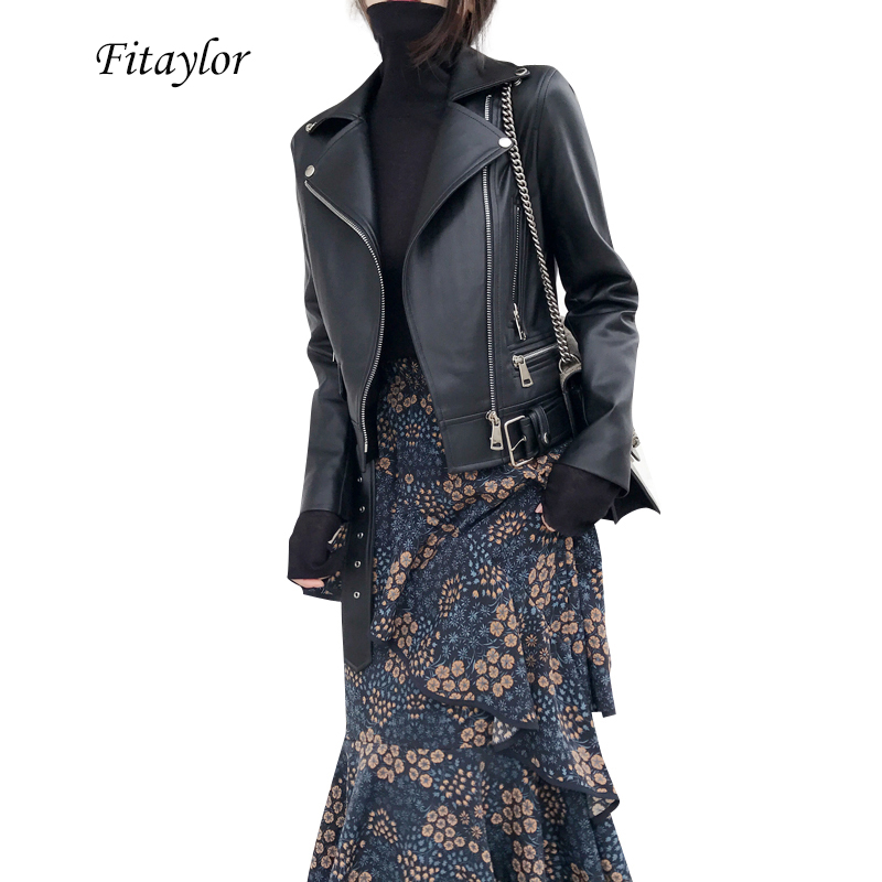 Fitaylor Women Faux Leather Jacket Slash Black Moto Leather Jacket Casual Slim Fall Outwear Street PU Jackets