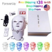 Máscara Facial Led de 7 colores para Foreverlily, máscara Facial para terapia de fotones coreanos, máquina de terapia de luz, máscara de acné, cuello de belleza, Led máscara