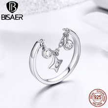 BISAER Hot Fashion 925 Sterling Silver Shiny Silver Starry Finger Ring Making Fashion Jewelry Gift For Women Ring HSR406 bisaer silver rings 925 sterling silver pet french bulldog open finger ring for women silver ring fashion jewelry hsr411