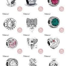 Charms Silver Bead 925-Bracelet Coffee-Cup Fashion Jewelry Pink White Women Love Original Pandora