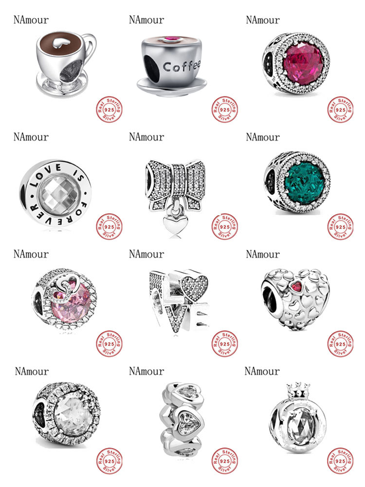 New i love mom love pink white spcer coffee cup Bead fit original Pandora charms silver 925 Bracelet for women fashion jewelry Beads  - AliExpress