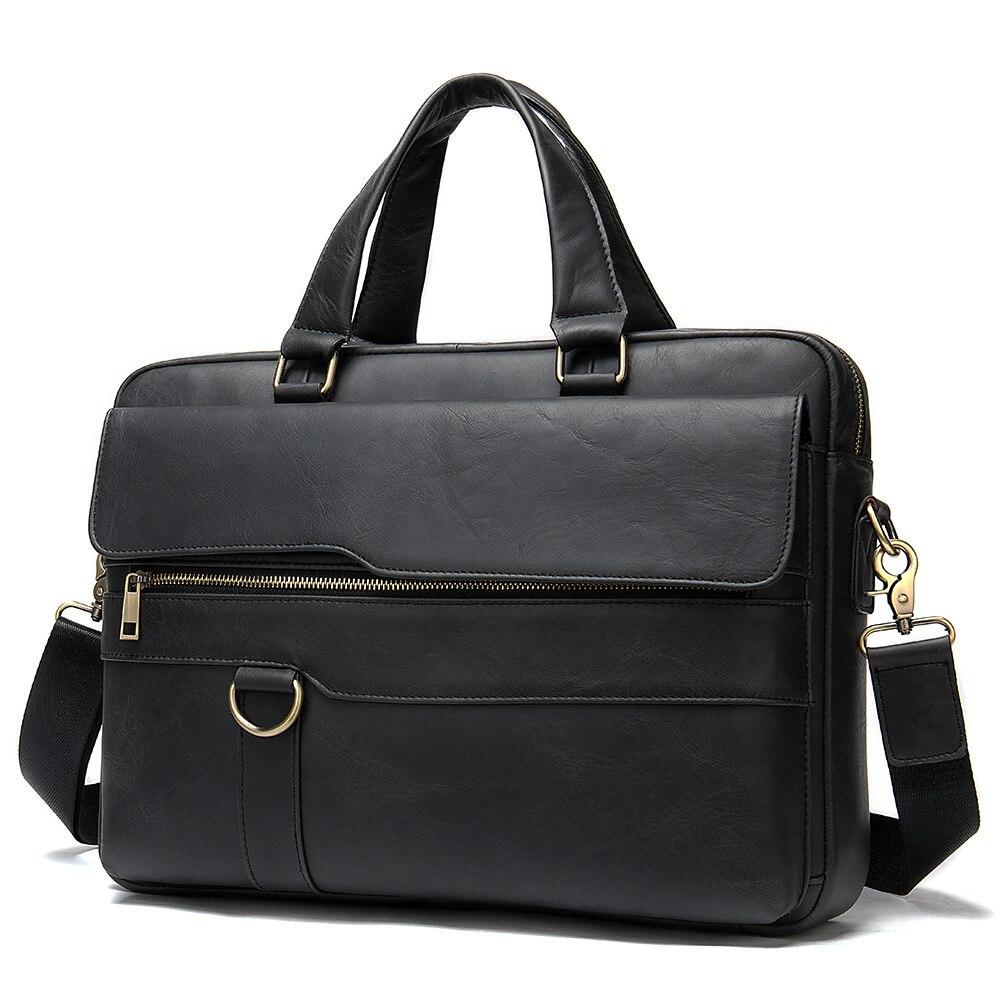Office Men Leather Briefcase Genuine Leather Laptop Bag Handbag Maletin Portatil 15 Business Work Bag For Men Bolsa Masculina