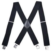 Bretelles de pantalon pour homme, large, élastique, réglable, en forme de X, avec Clips métalliques solides, ceinture pour adulte, 50mm
