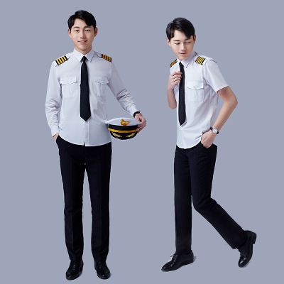 Men's Slim White Long Sleeve Shirt Aviation Pilot Captain Shirt Student Nightclub Show Dress Security Tooling Uniform Size 36-45