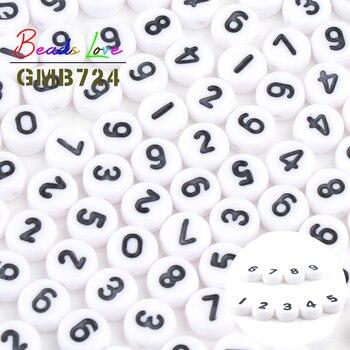 Оптовая продажа 100 шт., разноцветные акриловые бусины 4x7 мм, белые круглые бусины с плоскими цифрами для изготовления ювелирных украшений, по...