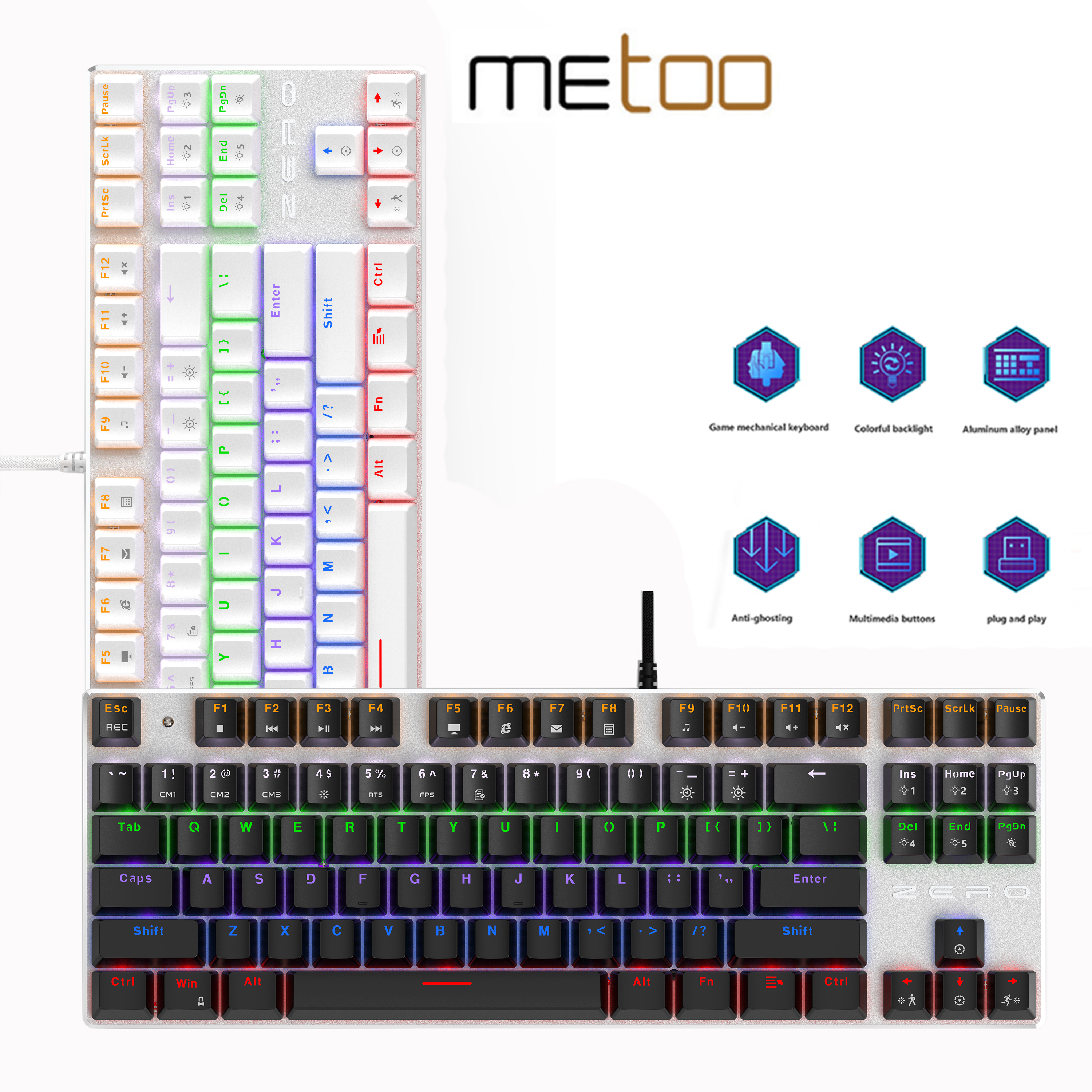 Metoo Edition Gaming Mechanical Keyboard 87 104keys LED Backlit red Axis Russian US Spanish For Game Laptop PC