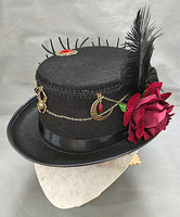Vintage Rose Feather Fedoras Cap Steampunk Top Hat Rhinestone Chain Feather Fascinator Hat European Holiday Party Headwear