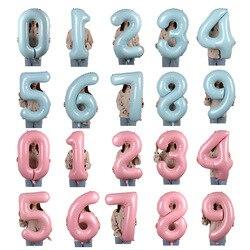 Macaron balões de número rosa azul, balões de alumínio rosa 0 1 2 3 4 5 6 7 8 9 festa de aniversário 40 Polegada chá de bebê decoração casamento festival balão