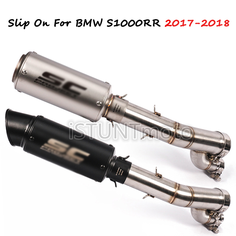 Slip On For BMW <font><b>S1000RR</b></font> S1000 RR <font><b>2017</b></font> <font><b>2018</b></font> years Motorcycle Escape Scooter Mid Link Pipe Full System with <font><b>Exhaust</b></font> Muffler image
