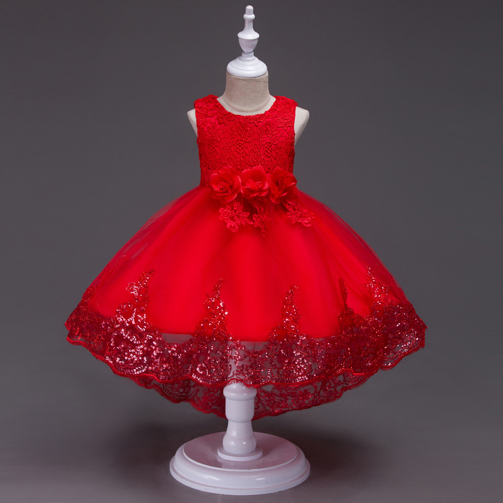 CHILDREN'S Dress Princess Dress Girls Wedding Dress Tutu Children School Stage Performance Small Host Tailing Formal Dress