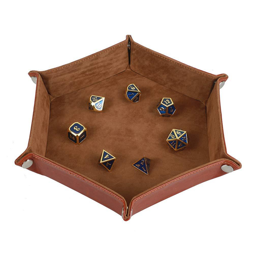 HobbyLane Solid Color Hexagonal Dice Tray Folding PU Storage Box For Table Games