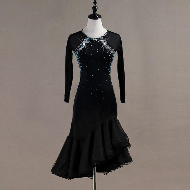 Customization Latin Dance Dress Girls Long Sleeves Ballroom Dress Clothing Salsa Rumba Samba Cha Belly Dance Diamonds Costume
