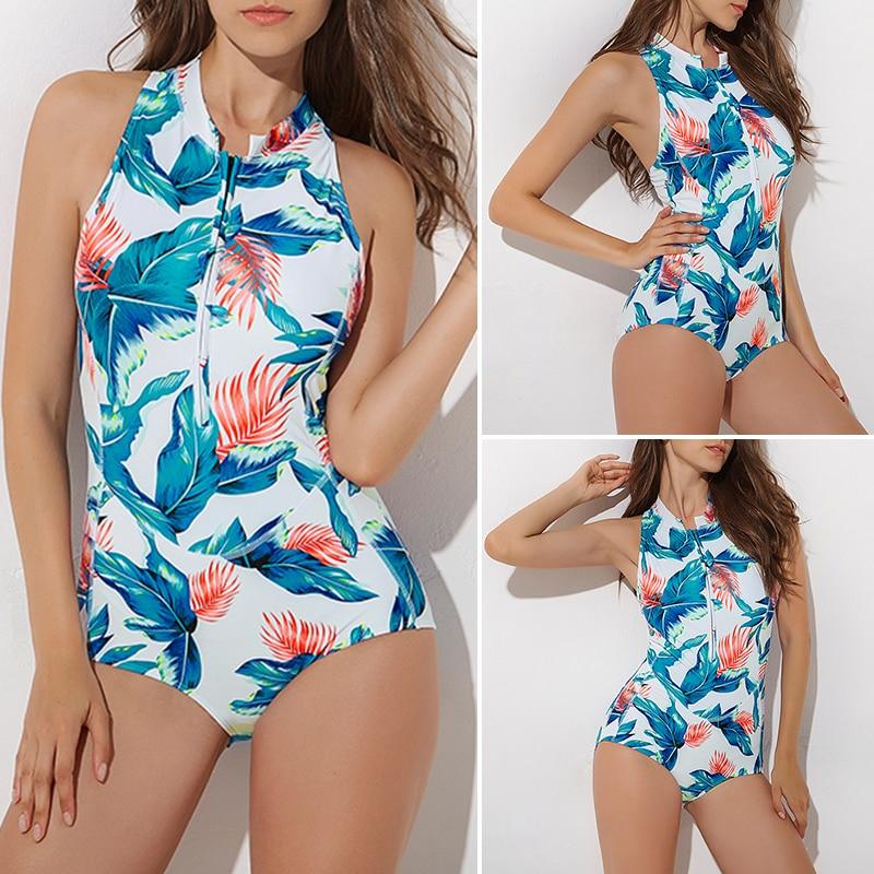 Лето, женский купальник с принтом листьев, длинный рукав, сексуальное бикини, бразильский Цельный боди, пуш-ап, купальник для женщин, монокини