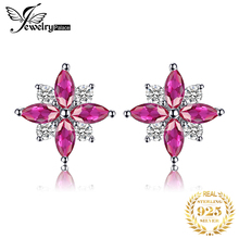 JewelryPalace Flowers 0.9ct Created Ruby Stud Earrings Pure 925 Sterling Silver Feminine Fashion Earrings Jewelry For Women