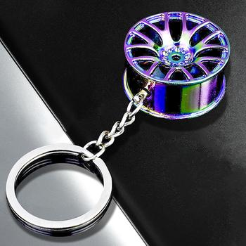 Newest Keychain Colorful Wheel Hub Shape Zinc Alloy Cool Pendant Accessory for Car Key image